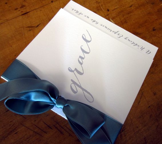 Beautiful Grandeur and Grace ceremony program, designed exclusively by Persnickety Invitation Studio