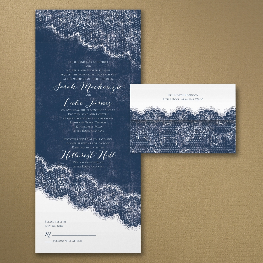 blue lace all in one wedding invitation