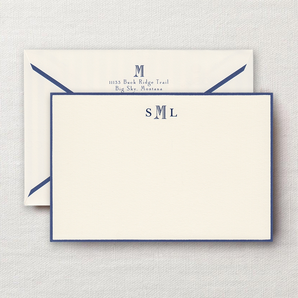 Derbyshire Monogram Regent Blue Bordered Correspondence ...