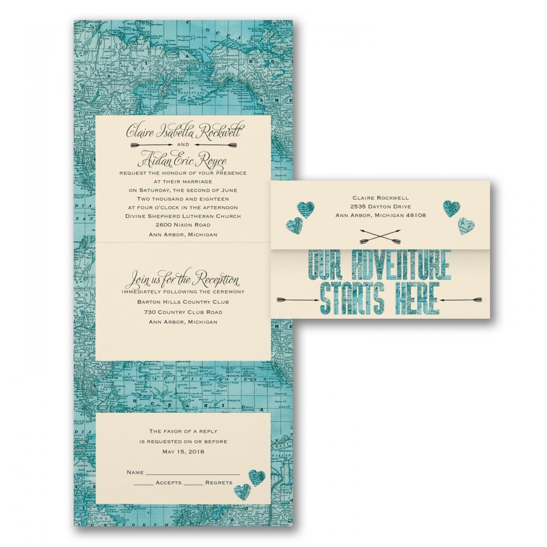 adventure map wedding invitation budget wedding
