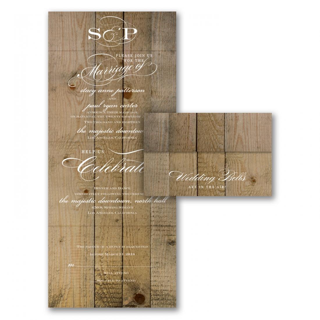 vintage woodgrain wedding invitation budget friendly