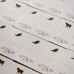 laser cut meal choice place cards