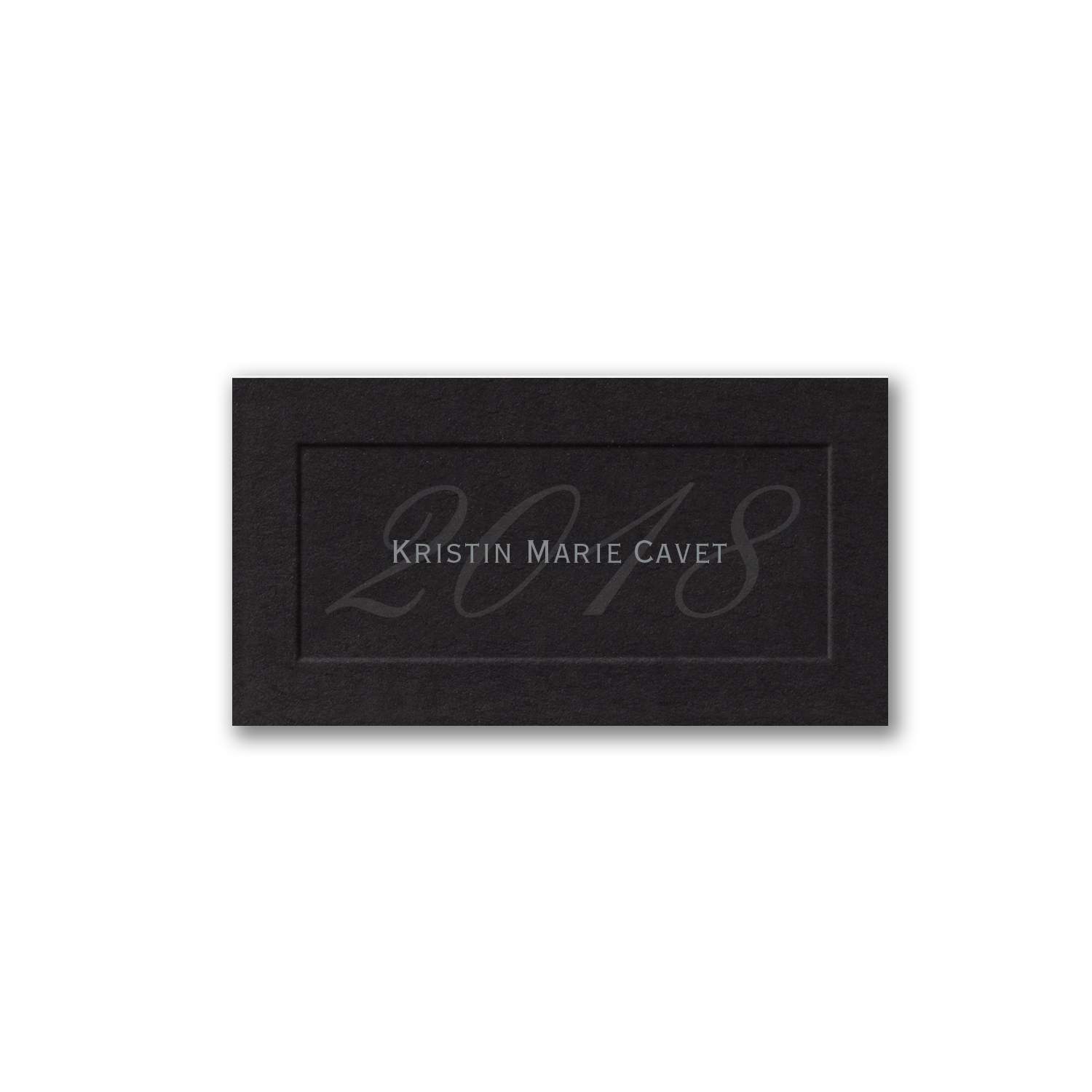 graduation name card black