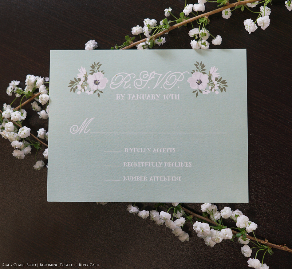 blooming together printswell blue RSVP card