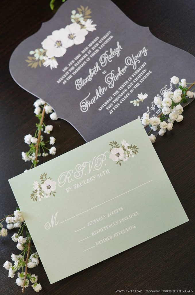 blooming together printswell chalkboard floral invitation