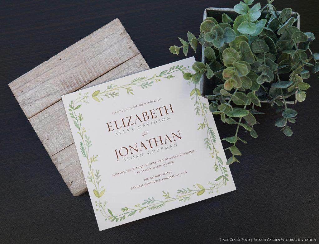 French Garden printswell wedding invitation