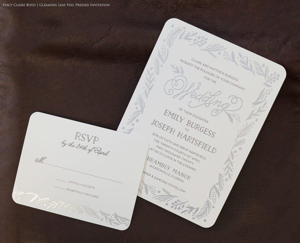 gleaming leaf foil invitation suite wedding printswell