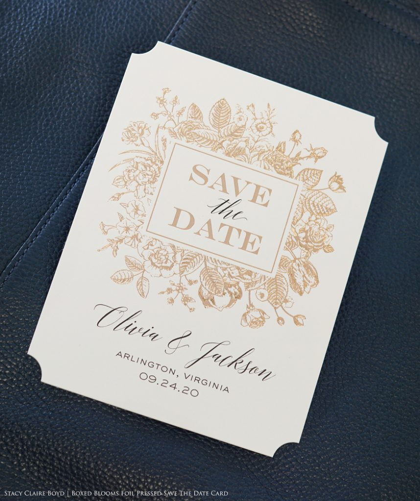 boxed blooms rose gold foil floral save the date printswell