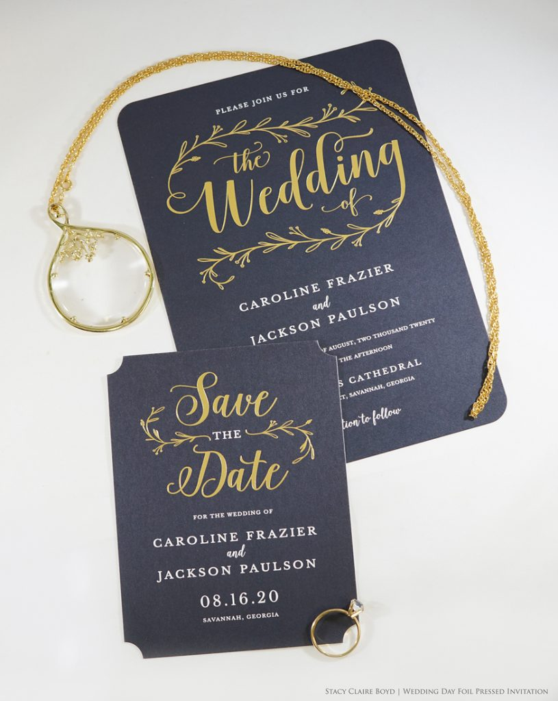 wedding day printswell black and gold foil wedding invitations