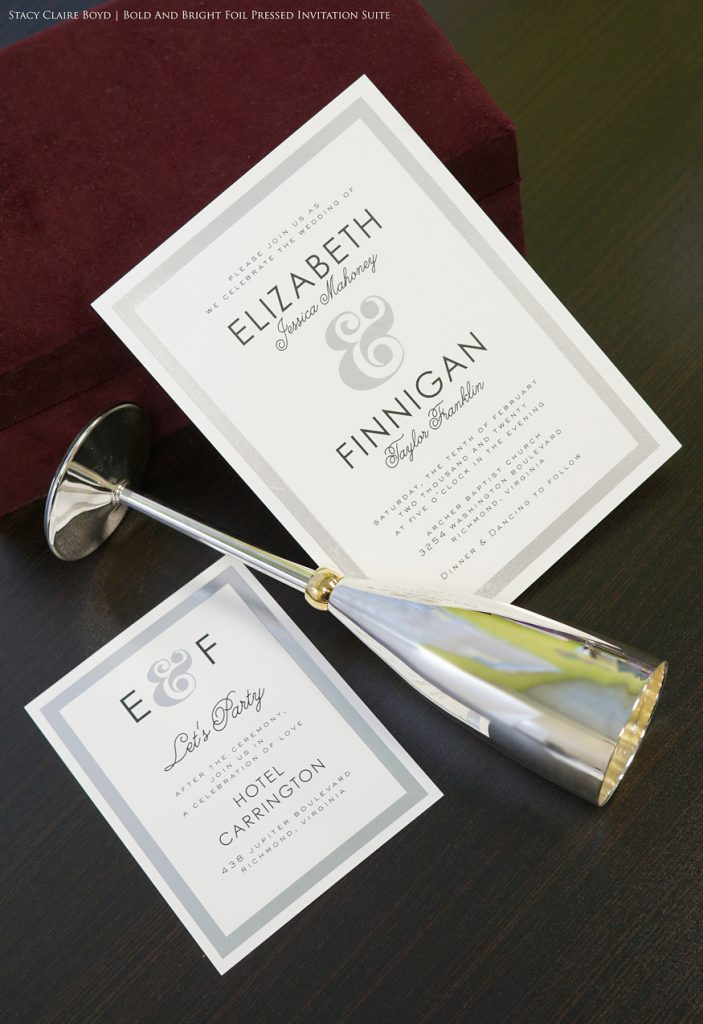 bold and bright printswell foil pressed wedding invitation