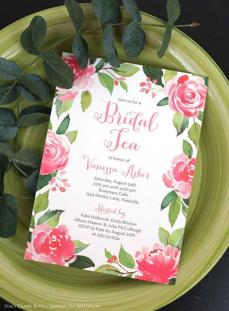 Bridal Tea floral bridal shower invitation