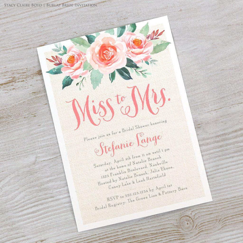 burlap bride floral bridal shower invitation
