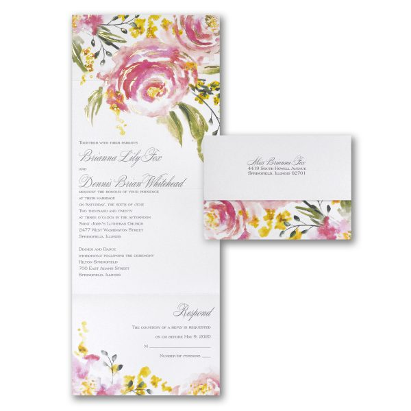 shimmering roses wedding invitation budget friendly