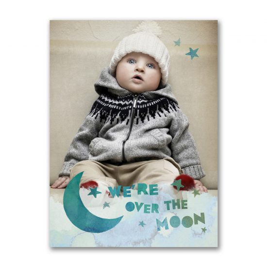 over the moon photo birth announcement