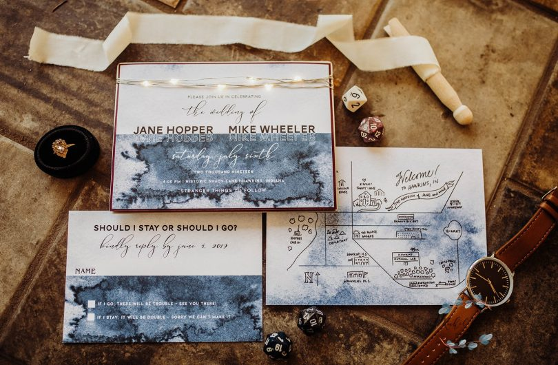 stranger things wedding photo shoot wedding invitation
