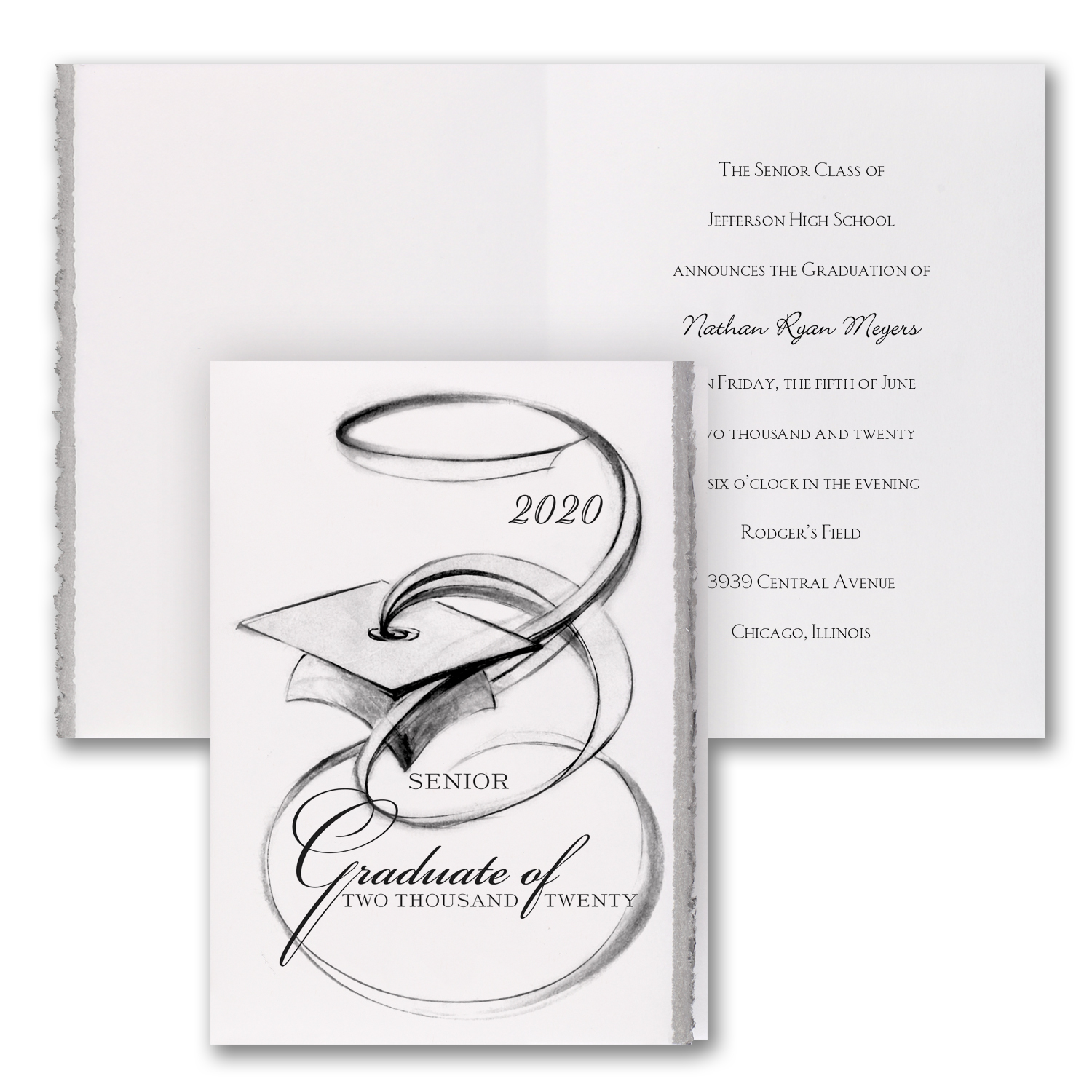 artistic grad deckled edge graduation announcement