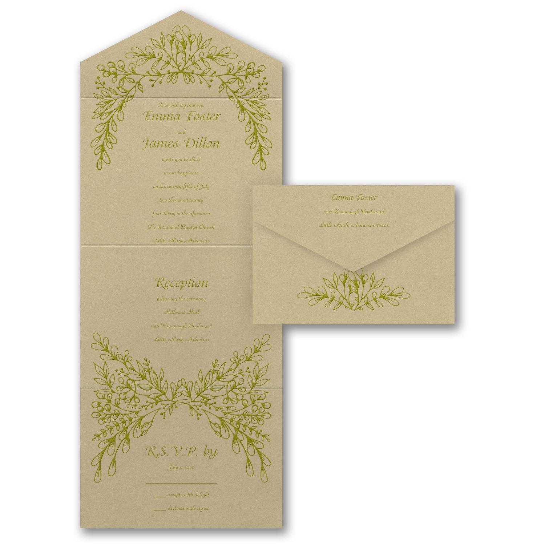 artistic vines wedding invitation budget friendly