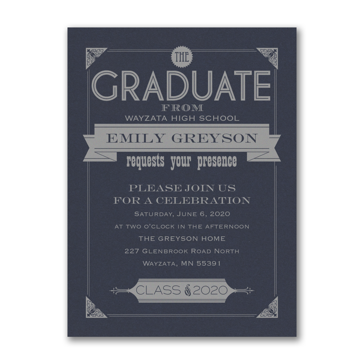 navy and silver graduation invitation