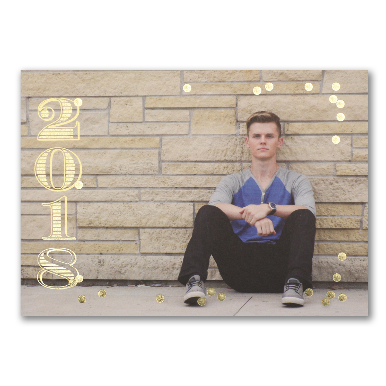 gold foil photo graduation invitation