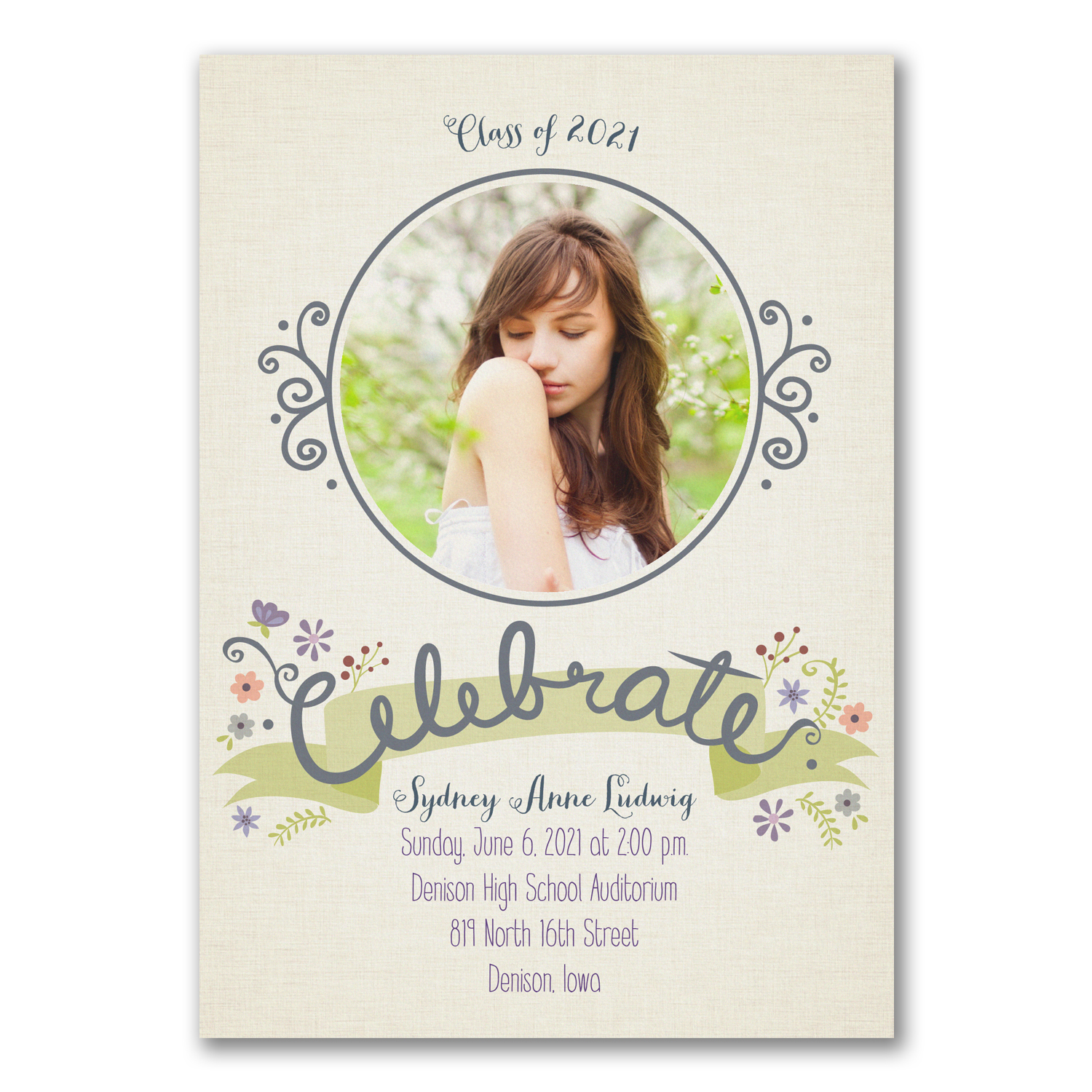 boho grad photo graduation announcement