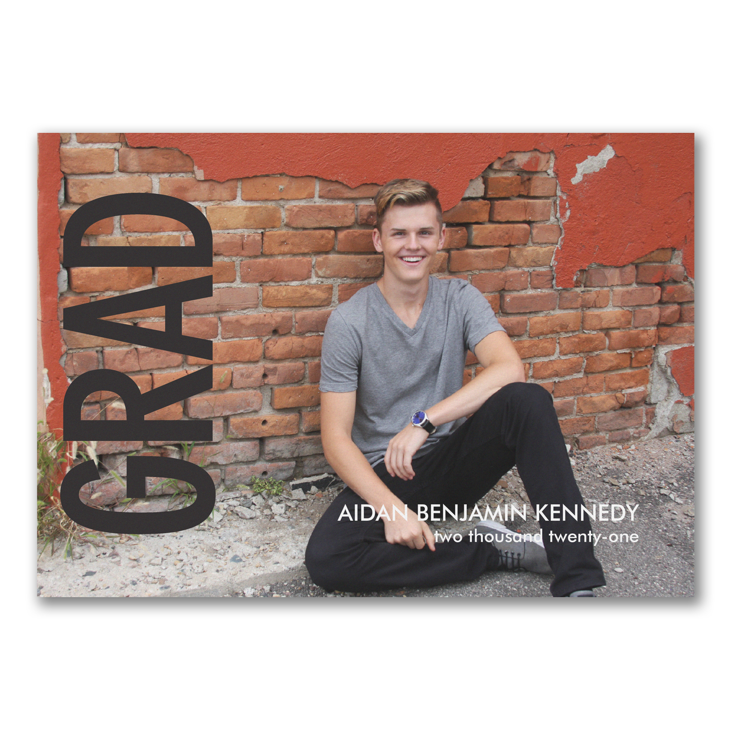 bold grad photo graduation announcement