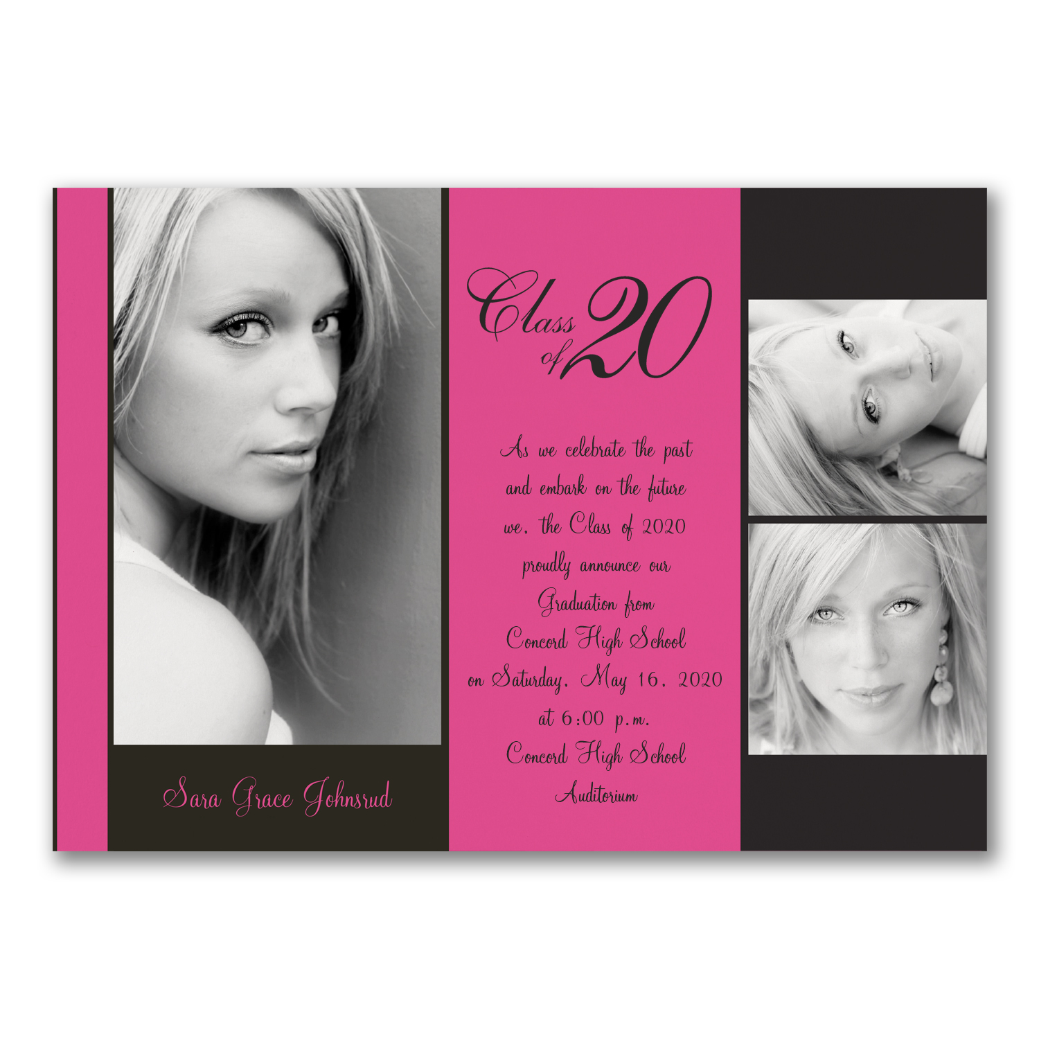 bold personality pink and black photo graduation announcement