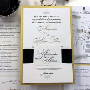 gold foil and letterpress custom invitation digital map wedding invitations