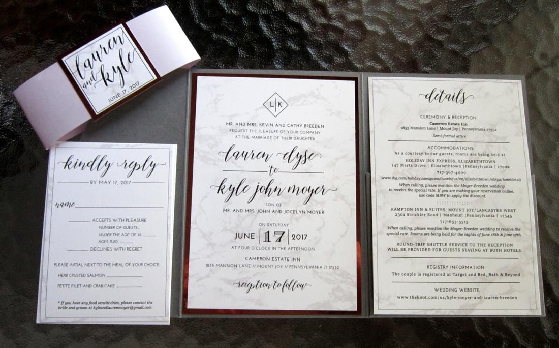 marbled invitation