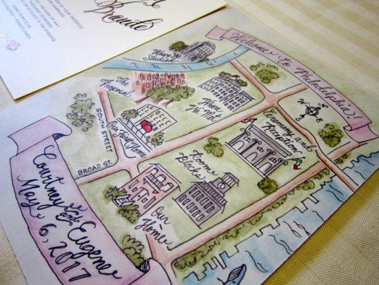 watercolor custom map philadelphia wedding