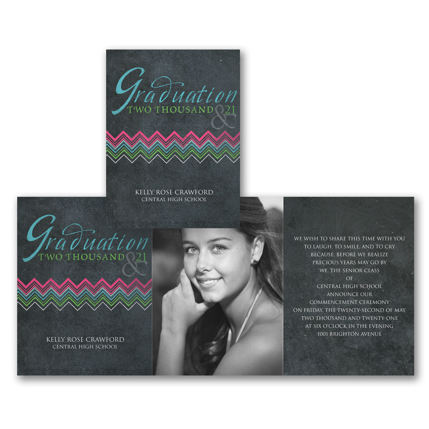 chalkboard chevron photo graduation invitation