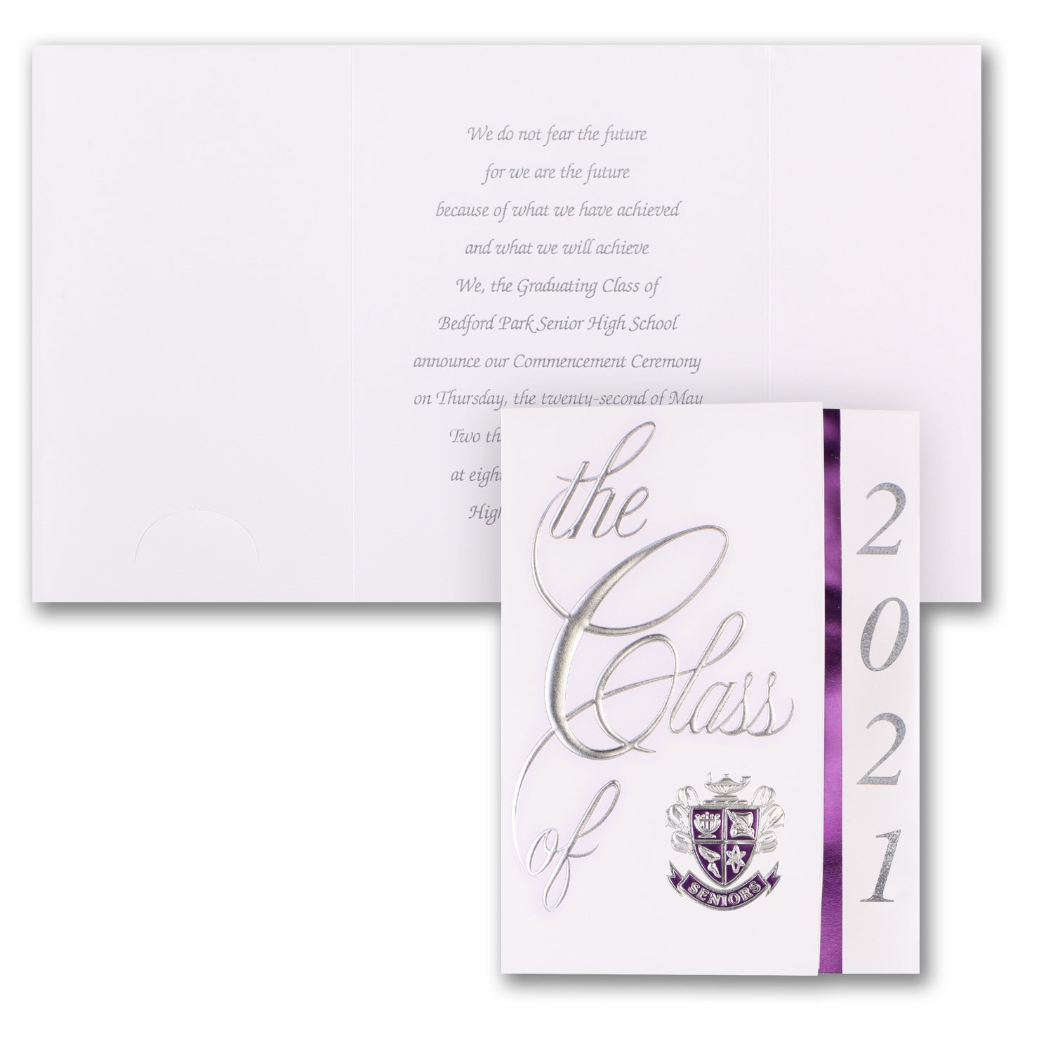 class colors graduation announcement purple