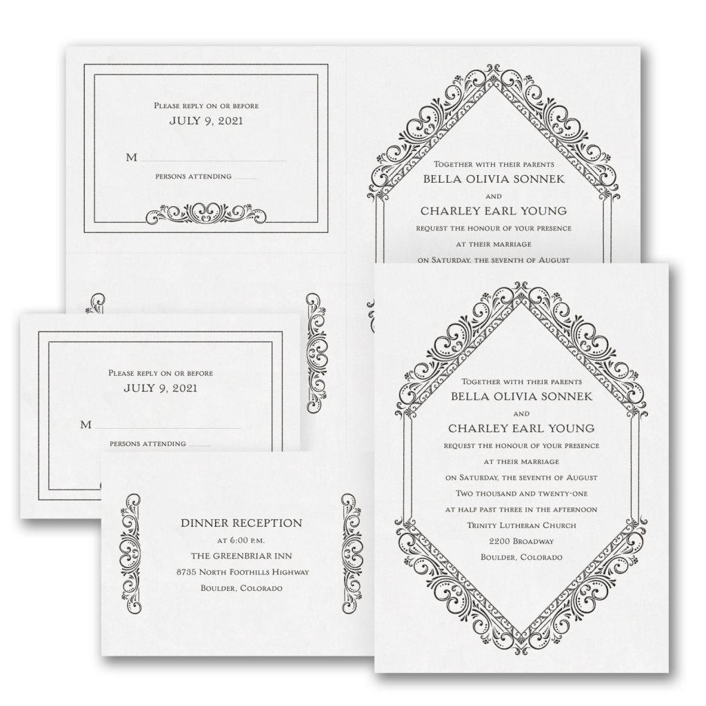 classic elegance wedding invitation budget friendly