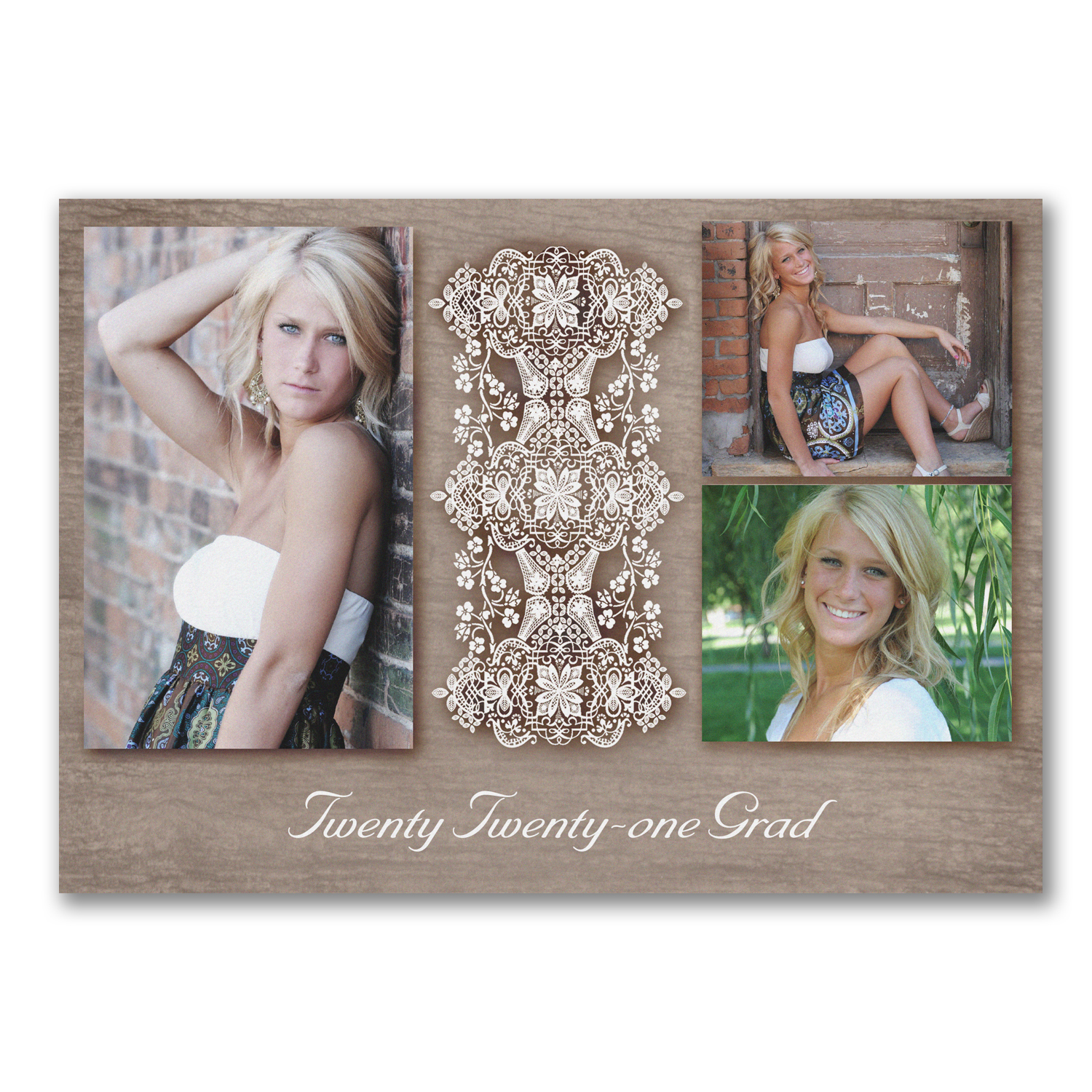 classic lace photo graduation announcement