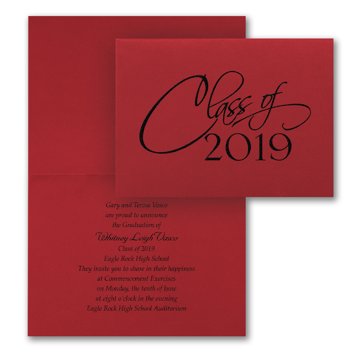 classic year folded graduation announcement