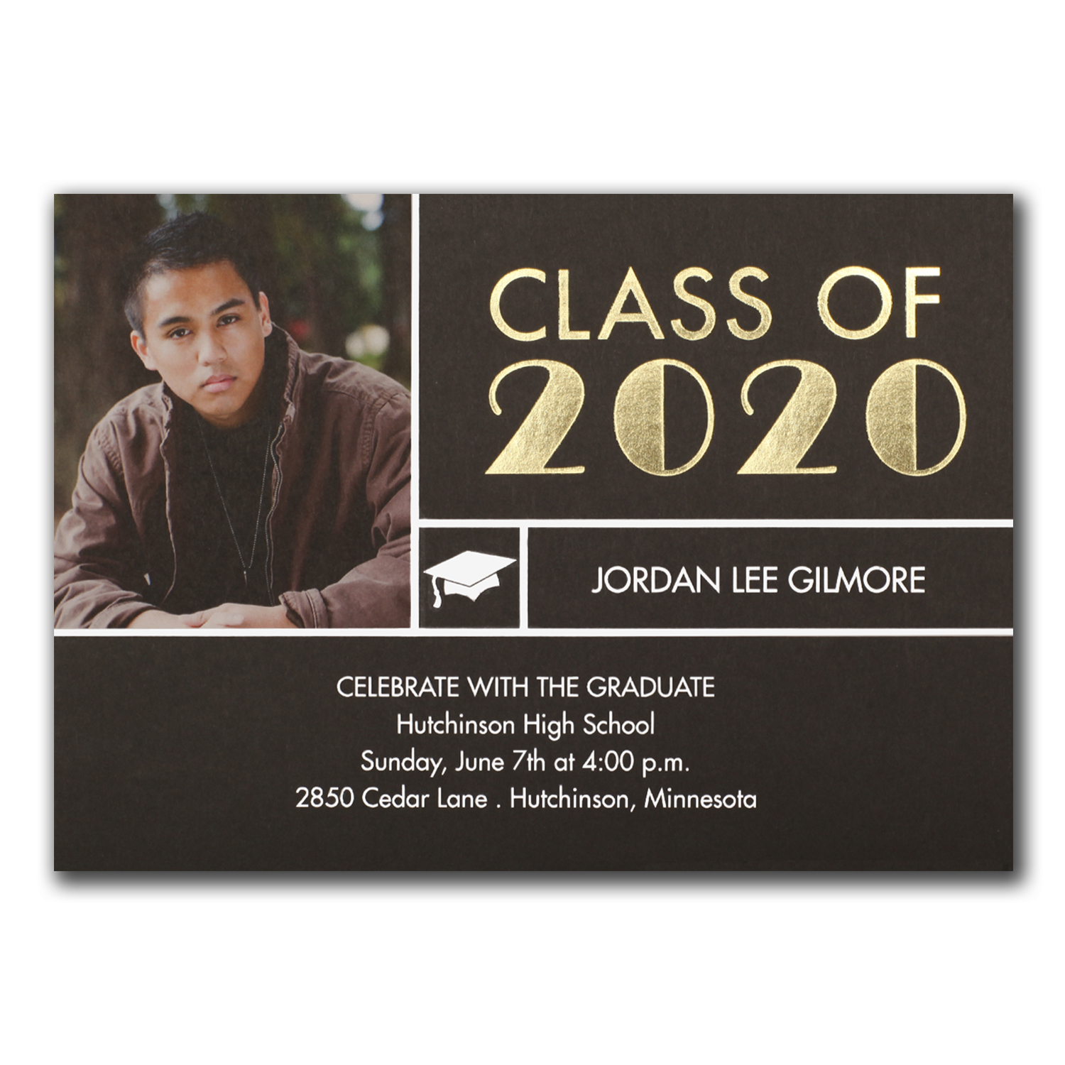 classy stripe photo graduation announcement