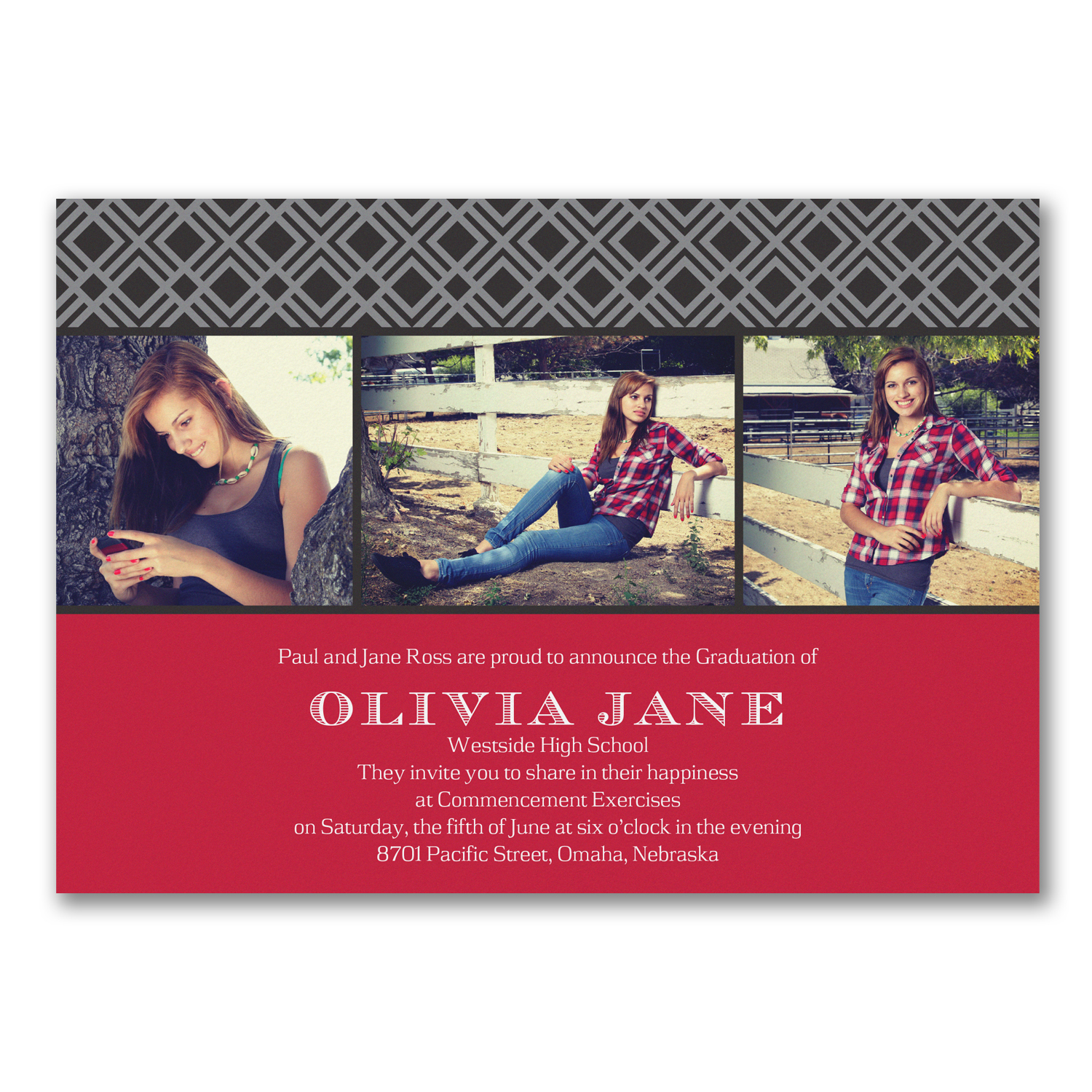 geometric photo red and black graduation announcement