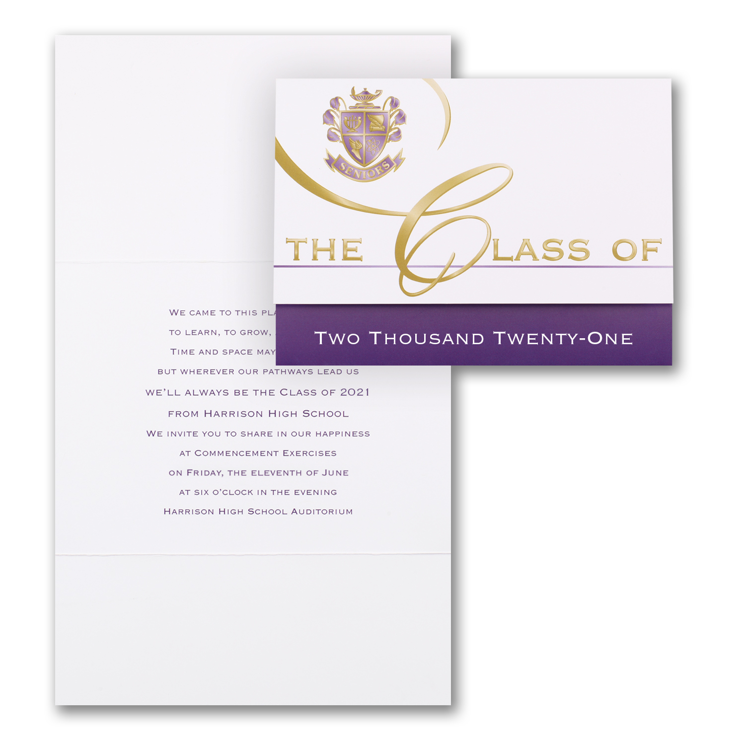 classic gold and purple graduation invitation