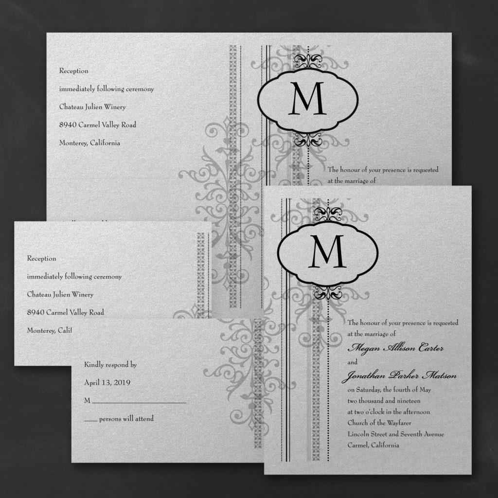 damask border wedding invitation budget friendly