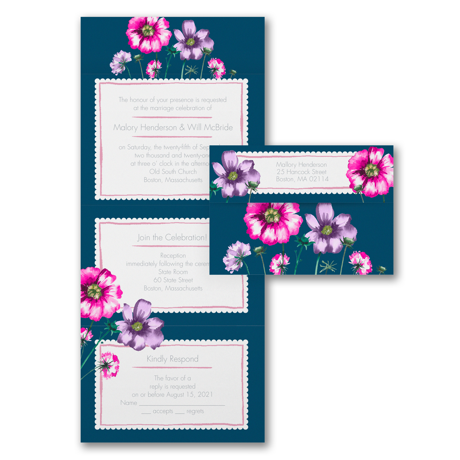 watercolor florals all in one wedding invitations