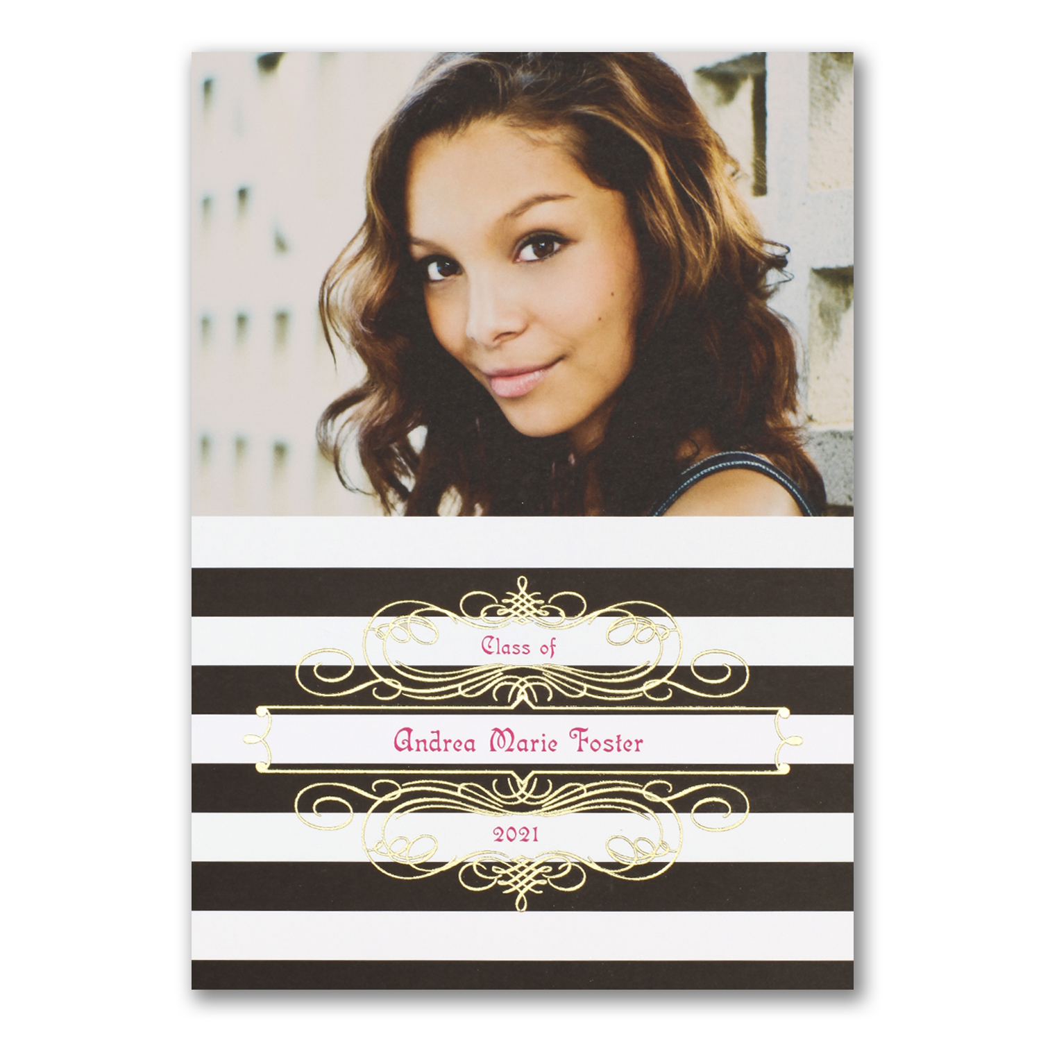 stripes foil graduation photo invitation