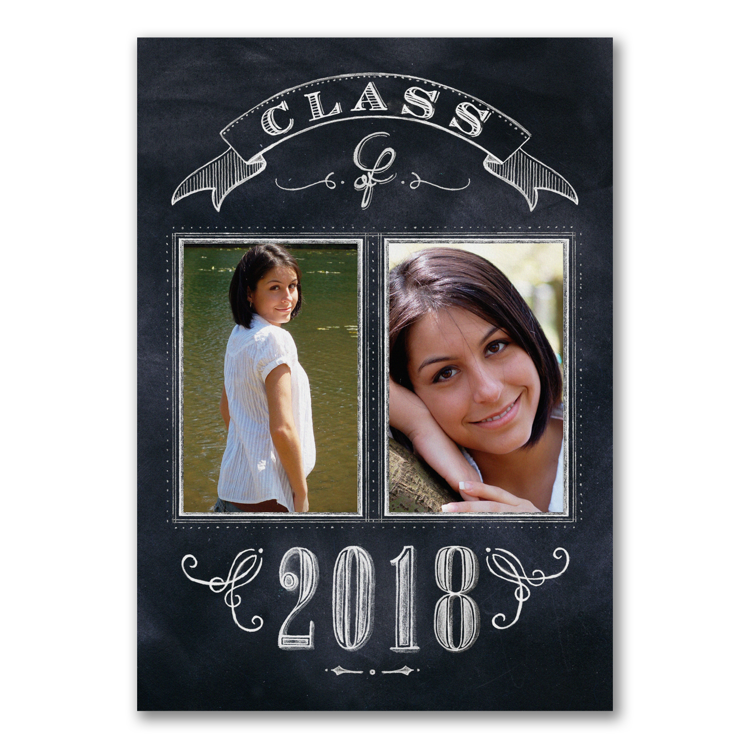 delicate chalkboard photo graduation announcement