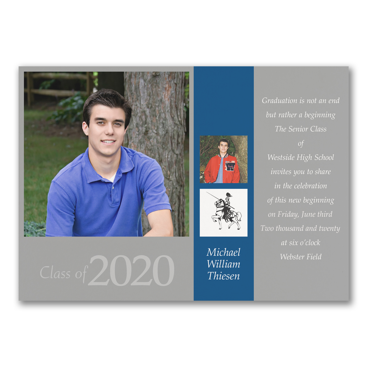 blue grey photo graduation announcement high school