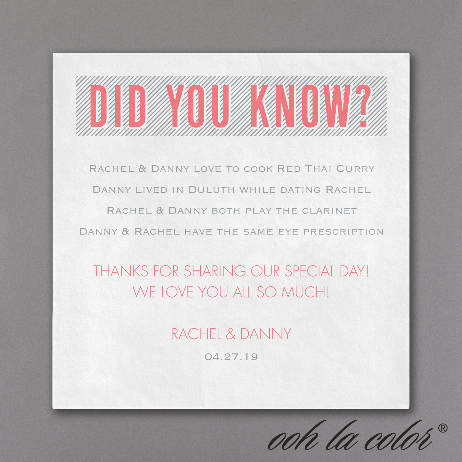 did you know facts napkin wedding