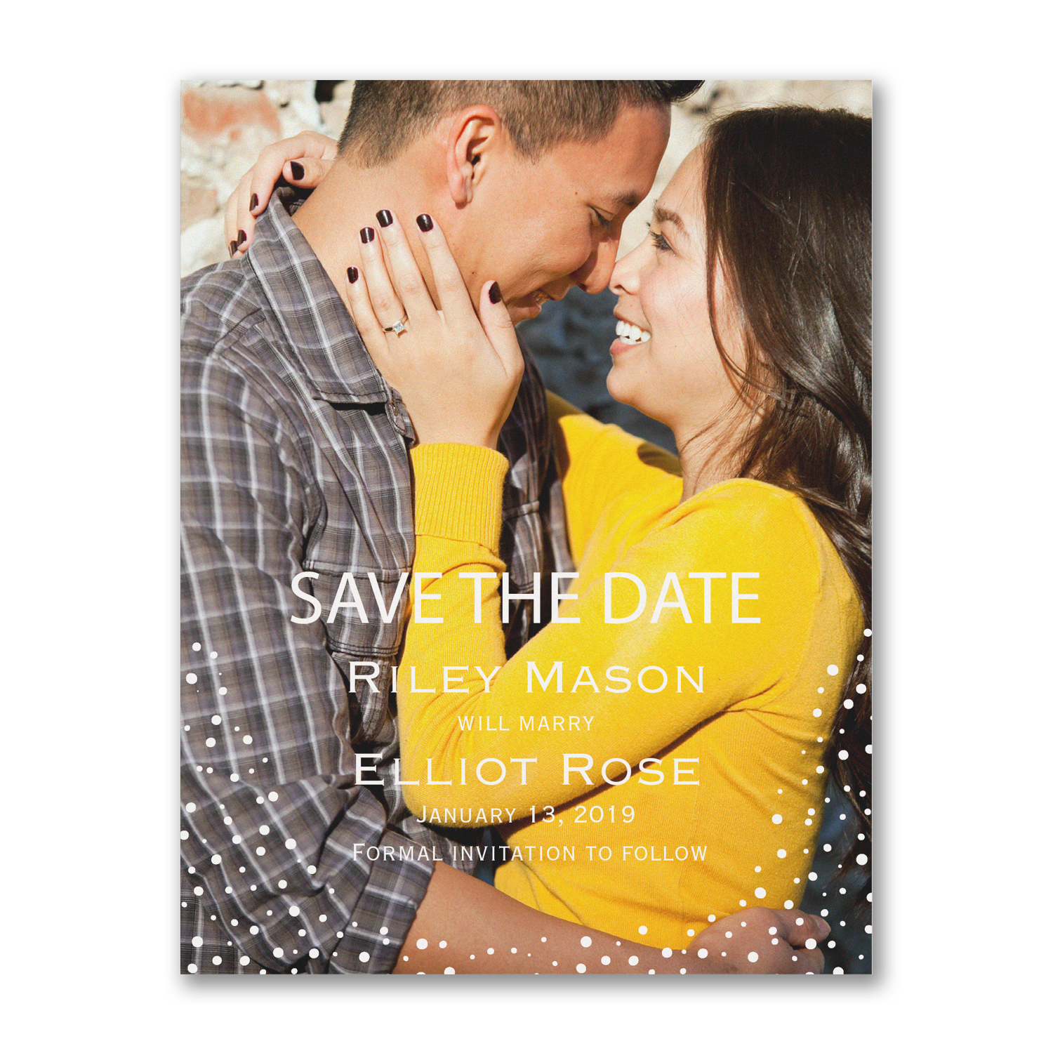 dotted day photo save the date confetti dots carlson craft