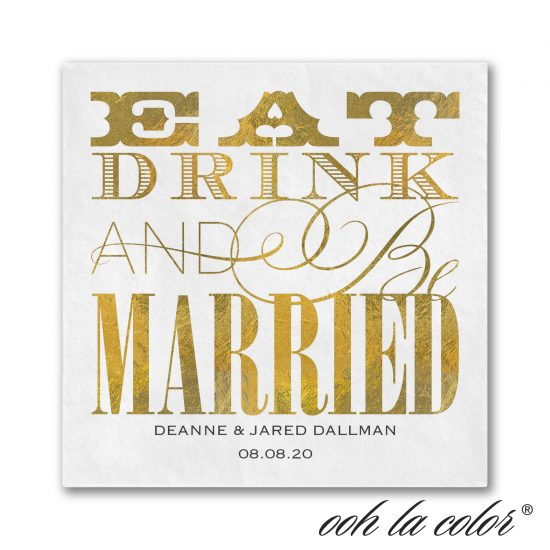 eat drink and be married cocktail napkin