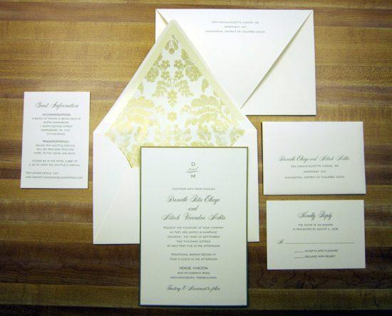 gold leaf patterned envelope liner wedding invitations
