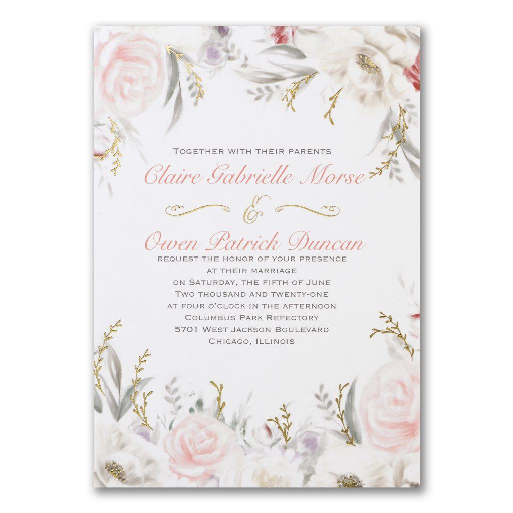 floral foil wedding invitation