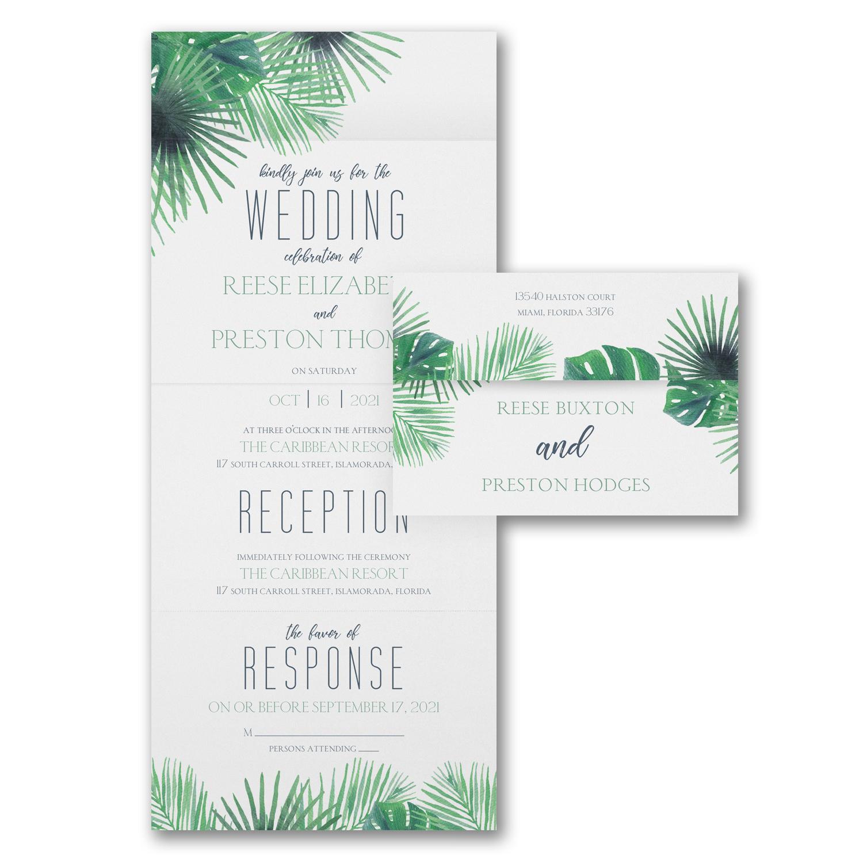 palm tree all in one destination wedding wedding invitation