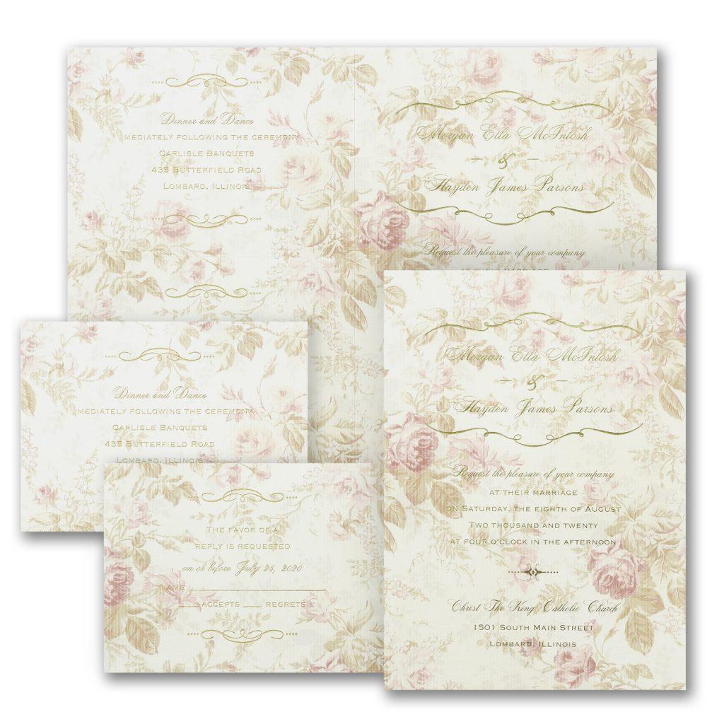 faded roses romantic wedding invitation budget friendly
