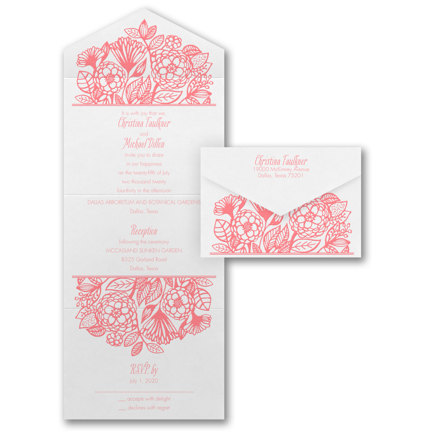 flower dreams thermography wedding invitation budget friendly